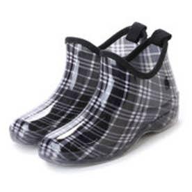 ブラックチェックガーデニングブーツ ショートレインシューズ・kp_16029 (BLACK/CHECK)