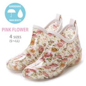 フラワーガーデニングブーツ ショートレインシューズ・kp_15027 (PINK/flower)