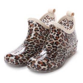 レオパード(ヒョウ柄) ガーデニングブーツ ショートレインシューズ・kp_16029 (BROWN/Leopard)