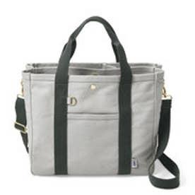 荷物を放り込むだけでスッキリ仕分け T字形の仕切り付きトートバッグ (グレー)