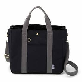 荷物を放り込むだけでスッキリ仕分け T字形の仕切り付きトートバッグ〈撥水(はっすい)〉 (ブラック)