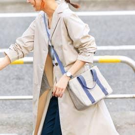 荷物を放り込むだけでスッキリ仕分け T字形の仕切り付きトートバッグ〈ミニ〉 (ライトブルー×グレー)