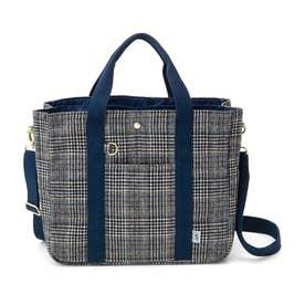 荷物を放り込むだけでスッキリ仕分け T字形の仕切り付きトートバッグ (起毛チェック)