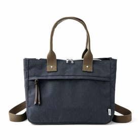 荷物を放り込むだけでスッキリ仕分け T字形の仕切り付きトートバッグ〈撥水(はっすい)・リュック〉 (ブラック)
