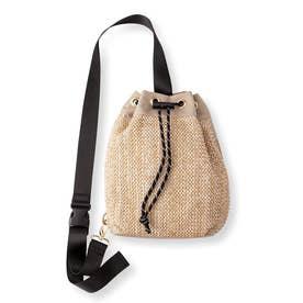 サッと取り出せる かごバッグみたいな巾着(きんちゃく)ボディーバッグ (ナチュラル)