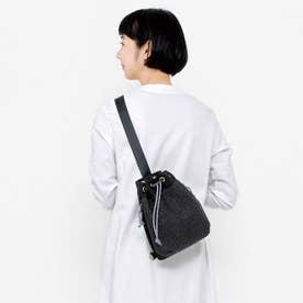 サッと取り出せる かごバッグみたいな巾着(きんちゃく)ボディーバッグ (ブラック)