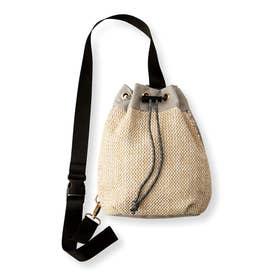 サッと取り出せる かごバッグみたいな巾着(きんちゃく)ボディーバッグ (グレー)