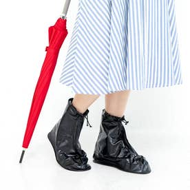 靴を雨や泥から守る たたんで持ち歩けるシューズレインカバー (黒)