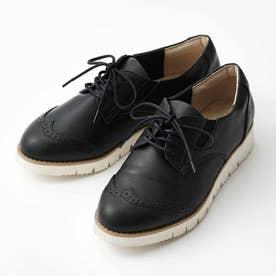スニーカーの履き心地 ダークカラーの軽やかきちんと靴 (ブラック)