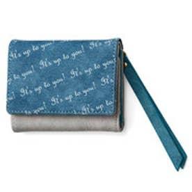 心弾む♪ マカロンカラーのキーリング付き手のり財布 (ミルティーユブルー)