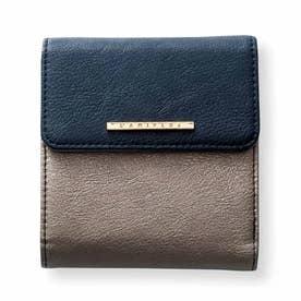 小さくたってやりくり上手 大人の賢い7つ星二つ折り財布 (ネイビー×ブロンズ)