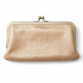 きらり箔プリントが華やか ダブルがま口が便利な本革やわらか長財布 (ゴールド)