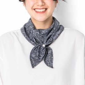 シックカラーで合わせやすい サッと着脱UVカット ワンタッチスカーフ (ネイビー)