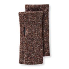 左右を気にせずはめられる ヘリンボーン柄ニット手袋 (ブラウン)