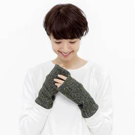 左右を気にせずはめられる ヘリンボーン柄ニット手袋 (ブラック)