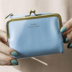 がま口とL字ファスナーが魅力 しあわせそらいろの手のり財布 (ブルー)