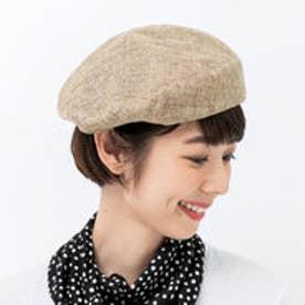 軽やかフィットでずれにくい 風通る涼やかベレー帽 (ベージュ)