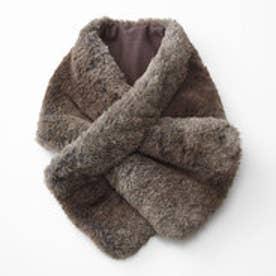 やさしい肌側コットン仕立て マフラーが通せる 暖かリッチな 中わた入り フェイクファーティペット (ブラウン)