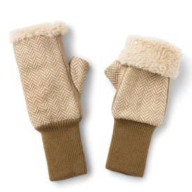 伸ばして指先までカバー! ファーとフリースが包み込む 暖かアームウォーマー (キャメル)