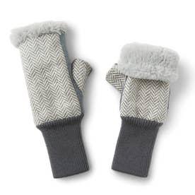 伸ばして指先までカバー! ファーとフリースが包み込む 暖かアームウォーマー (グレー)