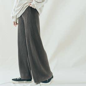 アコーディオンプリーツルーズワイドパンツ 裾カットOK [jnb0054](チャコール)