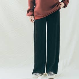 アコーディオンプリーツルーズワイドパンツ 裾カットOK (ブラック)
