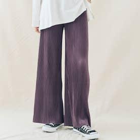 アコーディオンプリーツルーズワイドパンツ 裾カットOK (ダストパープル)