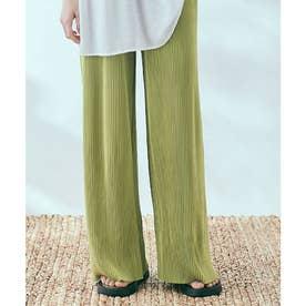 アコーディオンプリーツルーズワイドパンツ 裾カットOK (オリーブ)
