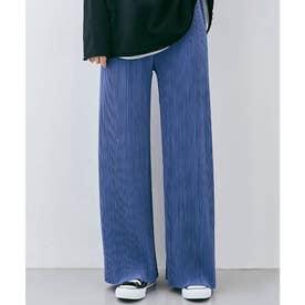 アコーディオンプリーツルーズワイドパンツ 裾カットOK (オーシャンブルー)