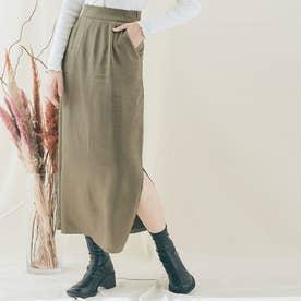 スカート《シルキーサテンサイドスリットナロースカート 全5色 2サイズ》 [jnb0086] (ダストカーキ)