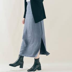 スカート《シルキーサテンサイドスリットナロースカート 全5色 2サイズ》 [jnb0086] (ダストブルー)