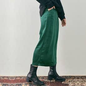 スカート《シルキーサテンサイドスリットナロースカート 全5色 2サイズ》 [jnb0086] (グリーン)