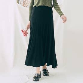 スカート《プリーツ風ニットフレアスカート 全5色》 [jnb0085] (ブラック)