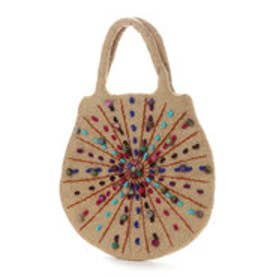 フェルトカラフル刺繍卵型バッグ (ベージュ)