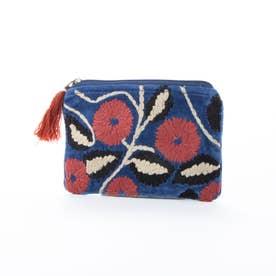 コットンベロア刺繍フラットポーチ (ブルー)