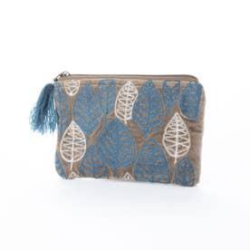 コットンベロア刺繍フラットポーチ (カーキ)