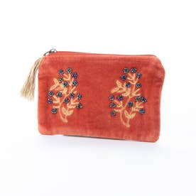 コットンベロア刺繍フラットポーチ (レッド)