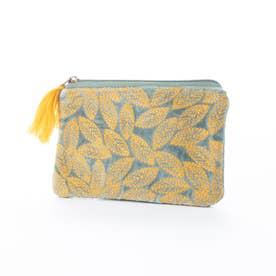 コットンベロア刺繍フラットポーチ (セージ)