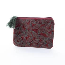コットンベロア刺繍フラットポーチ (ワイン)