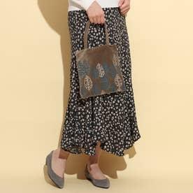 コットンベロア刺繍フラットバッグ (カーキ)