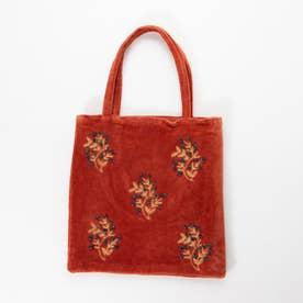 コットンベロア刺繍フラットバッグ (レッド)