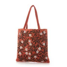 コットンベロア刺繍フラットバッグ (オレンジ)