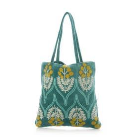 コットンベロア刺繍フラットバッグ (ターコイズ)