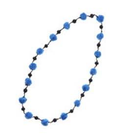 フェルトポンポン1連ネックレス (ブルー)