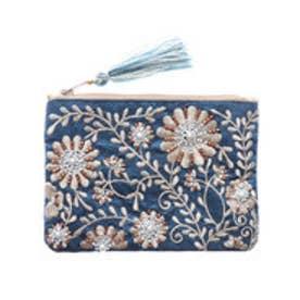 ビーズ刺繍ミニフラットポーチ (ブルー)