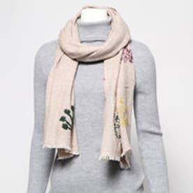 ウールツリー刺繍ショール (ベージュ)