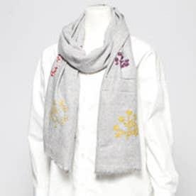 ウールツリー刺繍ショール (ライトグレー)