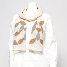 ウールコットンリーフ刺繍ショール (ベージュ)