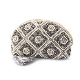 ビーズ刺繍ポーチ (シルバー)