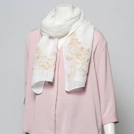 リネン花柄刺繍ショール (ホワイト)